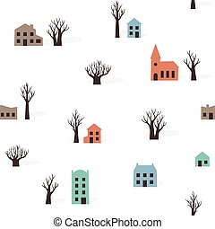 Seamless pattern of trees buildings