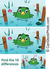 Fun kids puzzle of a bird in a lake - Fun kids educational...