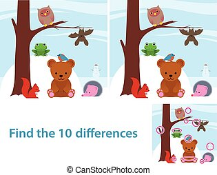 Woodland animals kids educational puzzle to spot the 10...