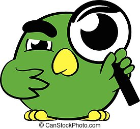 Cute little bird magnifying glass - Cute little cartoon bird...