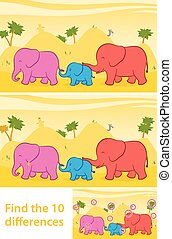 Find the ten differences elephants - Printable game for...