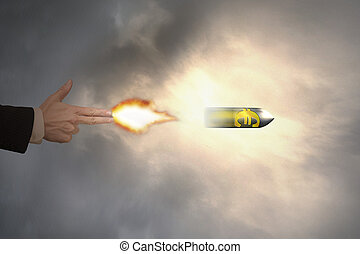 Hand of gun gesture with firelight shooting euro sign bullet...
