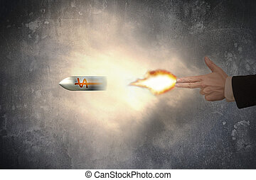Hand of gun gesture with firelight shooting dollar sign...
