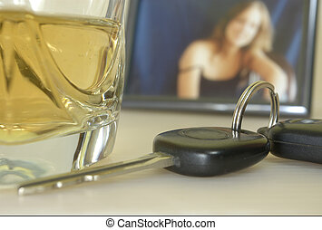 drinking driving drunk - set of keys in front next to a...
