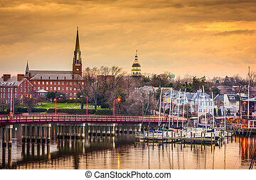 Annapolis Skyline - Annapolis, Maryland, USA State House and...