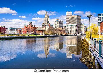 Providence River Skyline - Providence, Rhode Island, USA...