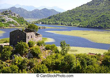 Karuc village on Lake Skadar, Montenegro, the largest lake...