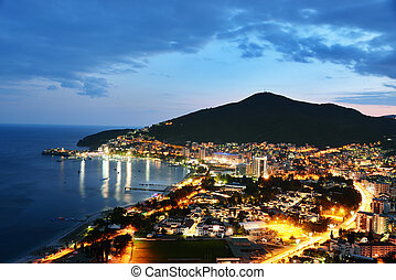 Aerial view of Budva, Montenegro on Adriatic coast after...