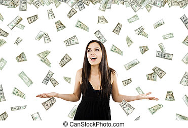It\'s raining money - Stock image of woman standing with...