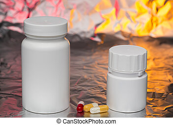 Medical capsules with white bottle