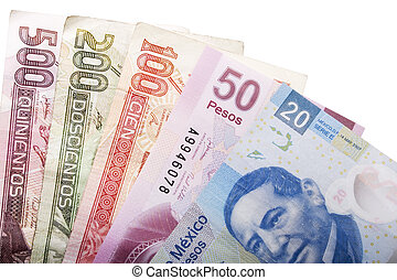 Mexican Money - Stock image of five mexican peso banknotes...