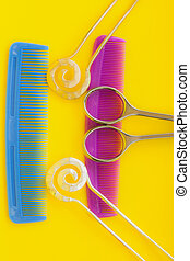 combs - colorful combs and scissors and hairpins