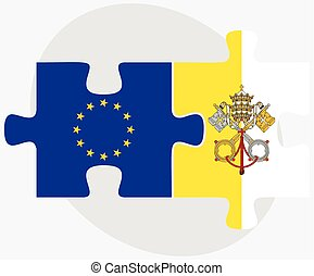 European Union and Holy See - Vatican City State Flags in...