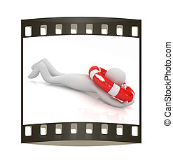 Man with life ring. 3d rendered illustration. The film strip
