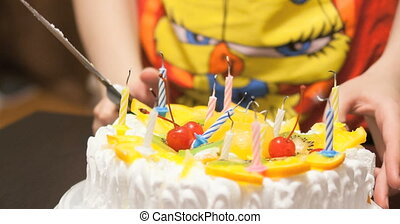 Girl with birthday cake - The girl birthday, blowing svechm...