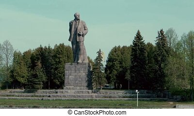 Statue of Lenin near city Dubna on the shore of Moscow canal...