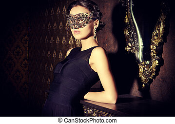 carnival mask - Beautiful mysterious stranger girl in...