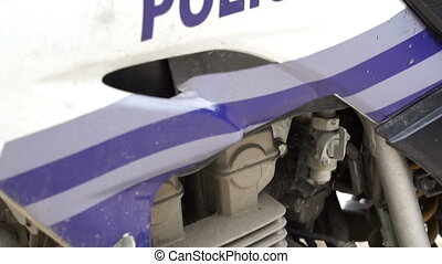 Police Motorbike and Lights Spanish - Close up tilt up shot...