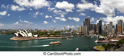 Sydney Panorama - Panorama of Sydney Cove and the Harbour of...