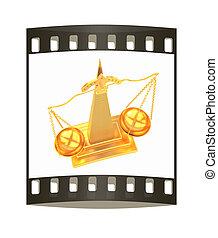 Gold scales of justice. The film strip