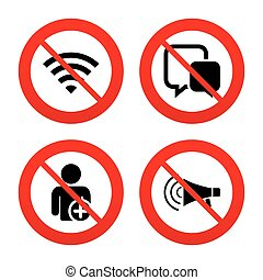Wifi and chat bubbles Add user, megaphone - No, Ban or Stop...
