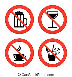 Drinks signs. Coffee cup, glass of beer icons. - No, Ban or...