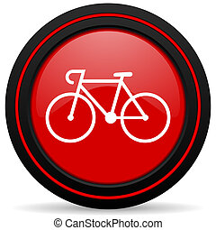 bicycle red glossy web icon