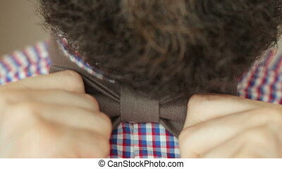 Bearded man dress bow tie - Bearded man in a plaid shirt...