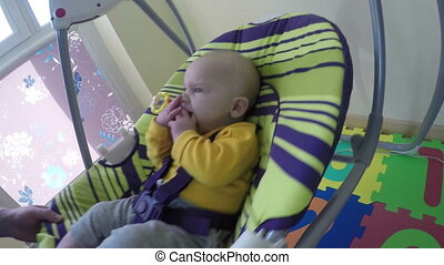 baby swing at home - Father man take newborn baby boy or...