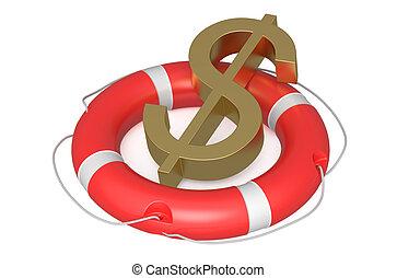 dollar on lifebuoy isolated on white background