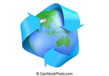 earth and recycle symbol isolated on  white background