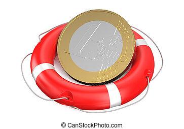 euro on lifebuoy isolated on white background