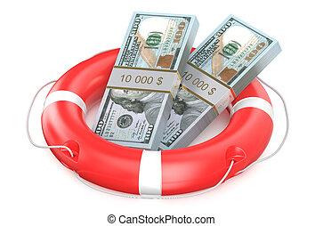 pack of dollars on lifebuoy isolated on white background