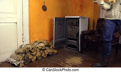 "man bring wood axe room - ""villager with thick woolen..."