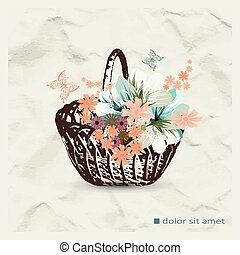 Flowers in basket on the background of crumpled paper