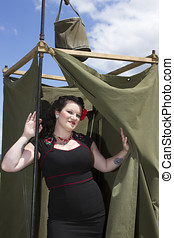 PinUp in GI Shower - Pin Up model in WWII army shower