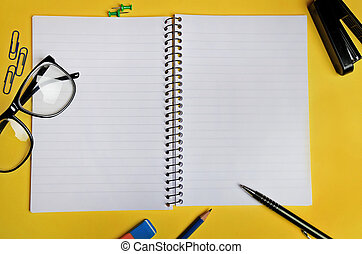 Notebook with office supply - Empty notebook with office...