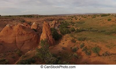 Utah Landscape at Sunset - Red Rock Formations small canyon...