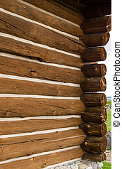 Detail of log home construction showing logs and joints