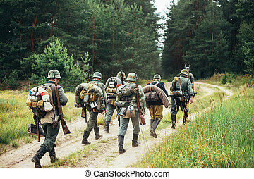 Unidentified reenactors dressed as German soldiers during...