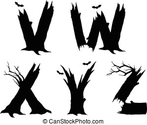 Halloween horror alphabet letters - VWXYZ Halloween letter...