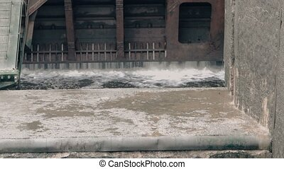 Gateway opens and water going inside. Moscow canal