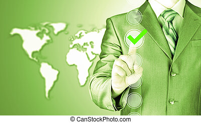 business man touching, pressing modern button with green...