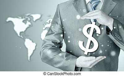 homem negócios, protegendo, dólar,...