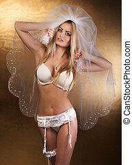 Sexy bride posing - Beautiful sexy blonde bride posing,...