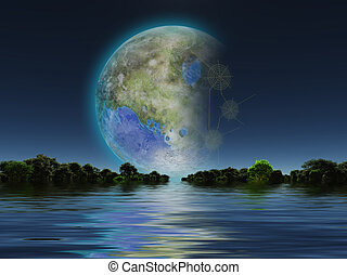 Terraformed Luna - Terraformed Moon seen from Earth