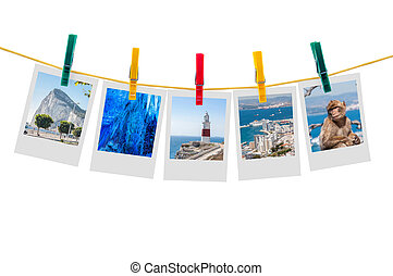 Five photos of Gibraltar on clothesline isolated on white...