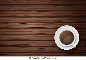 Cup of coffee or tea on the table dark wood