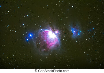 The Orion Nebula photography taken with telescope.