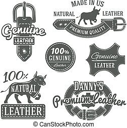 Set of vector vintage belt logo designs, retro quality...